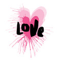 hand-drawn heart with lettering of love vector image
