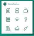 9 data icons vector image vector image