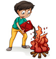 A boy making a campfire vector image vector image