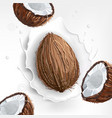 background of coconut milk with a splash vector image