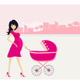 beautiful pregnant woman pushing a stroller vector image vector image