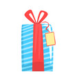 blue gift box with red ribbon cartoon vector image vector image