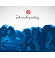 blue ink wash painting on white background vector image vector image