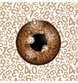 brown realistic eyeball on a number background vector image