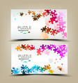 Business cards with mosaic made from puzzle pieces vector image vector image