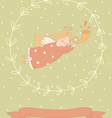 Cartoon of a very cute angel in a wreath vector image vector image