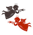 christmas angel plays the trumpet silhouette vector image vector image
