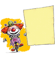 Clown on Unicle Holding Invitation Announcement vector image vector image