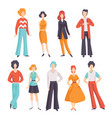 collection of young men and women wearing vintage vector image vector image