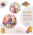 colorful birthday elements template vector image