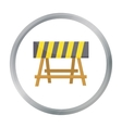 Construction barricade icon in cartoon style vector image