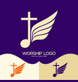 cross of jesus musical note and wing vector image vector image