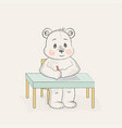 cute bear writes at the table vector image