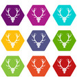 deer antler icon set color hexahedron vector image vector image