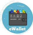 electron wallet concept in line art style vector image vector image