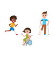 flat disabled people set isolated vector image