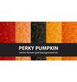 flower pattern set perky pumpkin seamless vector image vector image