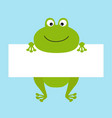 funny frog hanging on paper board template big vector image