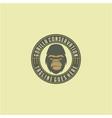 gorilla face with badge emblem logo design vector image