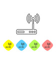 grey router and wi-fi signal symbol line icon vector image vector image