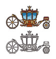 horse carriage or vintage chariot for marriage vector image vector image