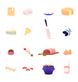 icons set cheese grater and olives sweet shrimp vector image