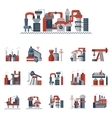 Industrial factories flat color icons vector image vector image