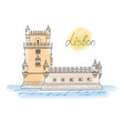 lisbon tower landmark visit portugal card travel vector image vector image