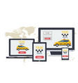 long flat banner - online taxi service on devices vector image vector image