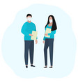 man and woman with documents in medical masks vector image