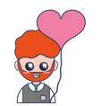 man teacher with uniform clothes and heart balloon vector image vector image