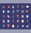 medicine accessories flat icons set health vector image vector image