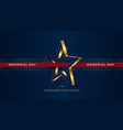 memorial day greeting card with 3d gold star vector image