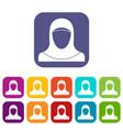 muslim women wearing hijab icons set vector image vector image
