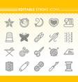 needlework simple black line icons set vector image vector image