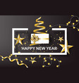 paper art of happy new year with golden gift bow vector image vector image