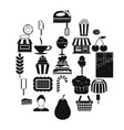pastry cook icons set simple style vector image vector image