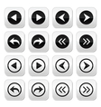 Previous next arrows buttons set vector image vector image