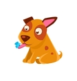Puppy Looking At A Butterfly On Its Tongue vector image vector image