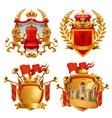 royal coat arms king and kingdom 3d emblem set vector image