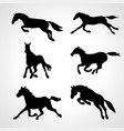 running horse set black silhouettes vector image