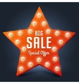 Sale retro light star Big Sale vector image