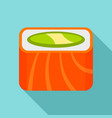 salmon rainbow sushi roll icon flat style vector image vector image