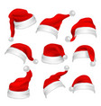 santa claus red hats photo booth props christmas vector image