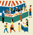 seasonal outdoor market street food festival vector image