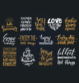 set of hand lettering with motivational vector image vector image