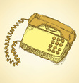 Sketch phone in vintage style vector image vector image