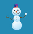 snowman holds a snow ball with top hat isolated on vector image vector image