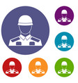 soldier icons set vector image vector image