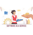 woman offer commercial secure software as service vector image vector image